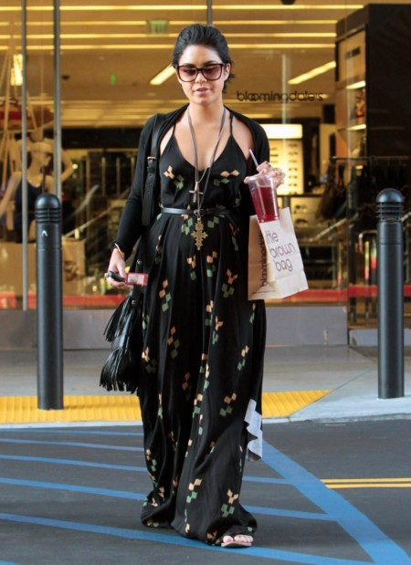 Vanessa Hudgens In Long Dress Shopping With Her Sister Beverly Hills Sister