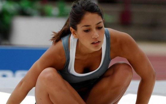 Allison Stokke Taking Rest After Jump