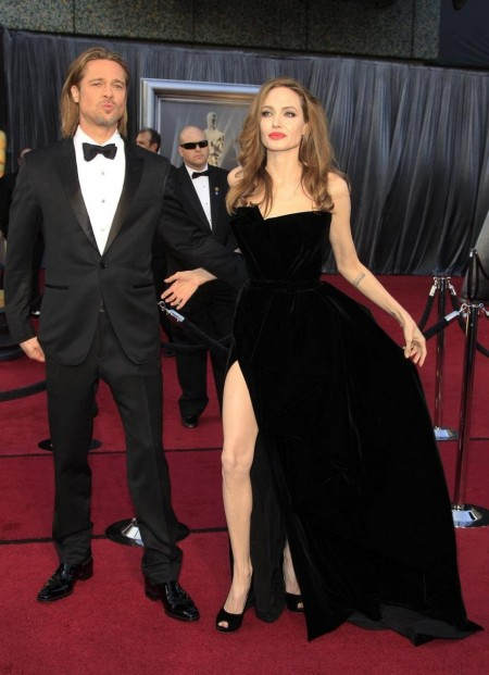 Actor Brad Pitt And His Partner Actress Angelina Jolie Arrive At The Brad Pitt