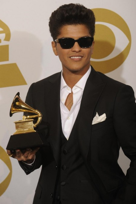 Bruno Mars Appears Backstage With Grammy Won For Best Male Pop Vocal Performance At Rd Grammy Awards Los Angeles Awards