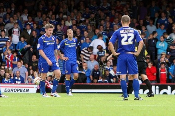 Cardiff City Players Look Dejected After The Defeat To Bristol City Lineup