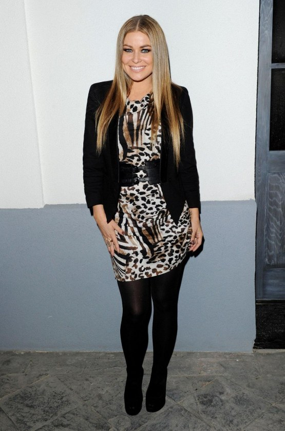 Carmen Electra Uk Style French Connection Fashion Launch March Leopard Print Dress Black Hose Carmenelectra Lo Fashion