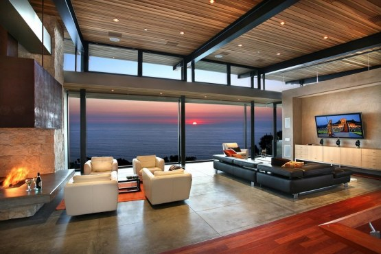 Awesome Panoramic Ocean View Modern Living Room With Wooden Ceiling By Cware Inc Celebrity Living Rooms