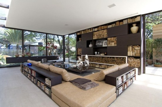 Outdoor Indoor Living Room With Bookshelves Celebrity Living Rooms
