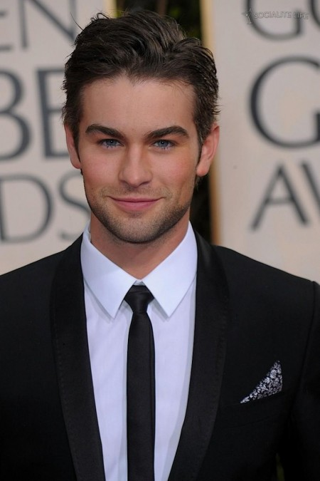 Chace Crawford Golden Globes Awards Red Carpet Photos Shirt Off