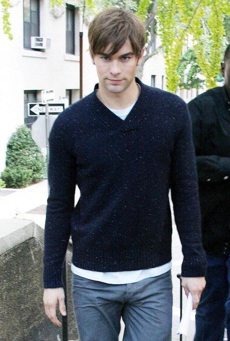 Chace Crawford In Knitted Jumper With Shirt Insert All People Photo Shirt Off