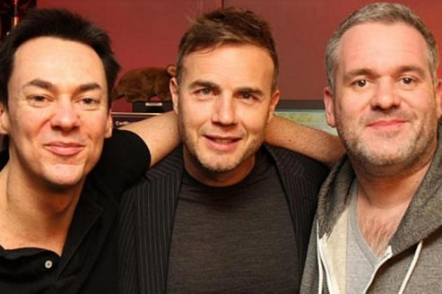 Chris Moyles Right Sidekick Comedy Dave Vitty Left And Gary Barlow Young