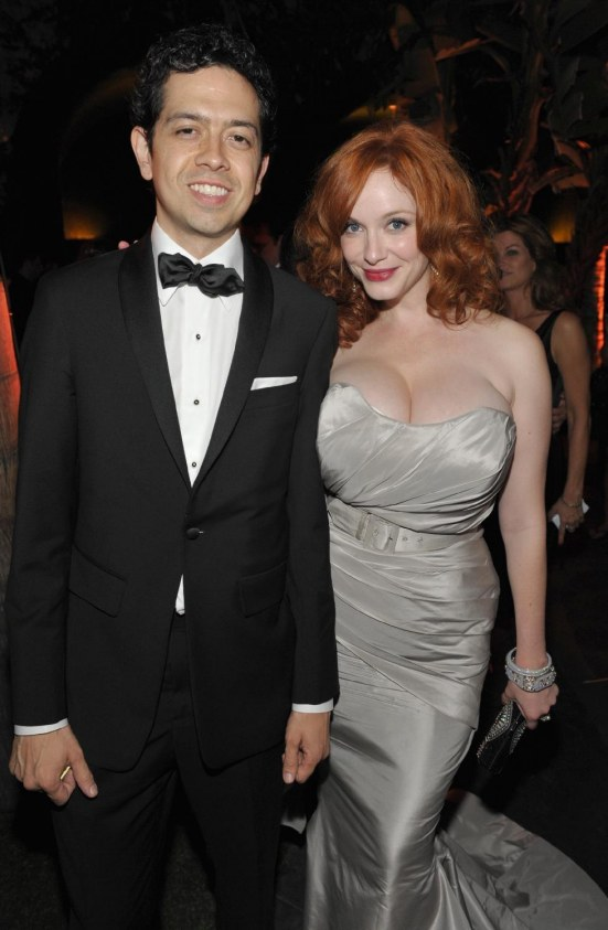 Christina Hendricks Silver Dress Massive Cleavage Amc Emmy After Party West Hollywood