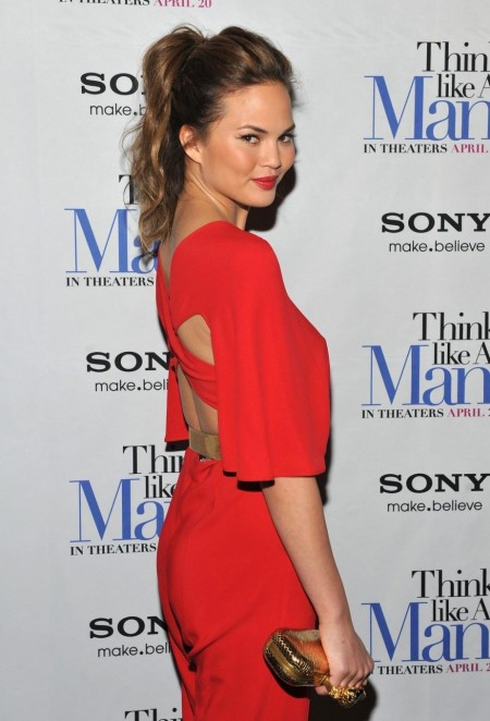 Christine Teigen Think Like Man Pre Screening Orange Coveralls Christine Teigen Think Like Man Pre Screening Hot