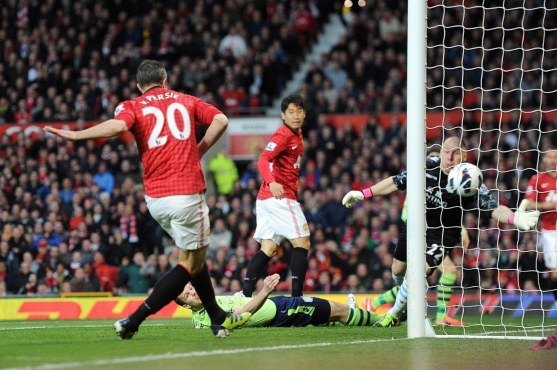 Manchester Uniteds Robin Van Persie Scores His Teams Opening Goal During The Barclays Pr Boots