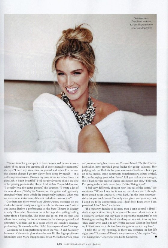 Harpers Bazaar April Delta Goodrem