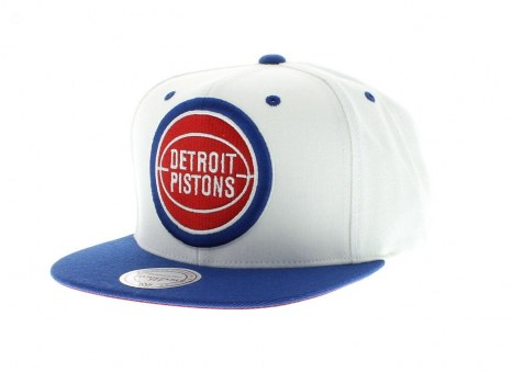 Detroit Pistons Nba White And Team Colors Xl Logo Snapback By Mitchell And Ness
