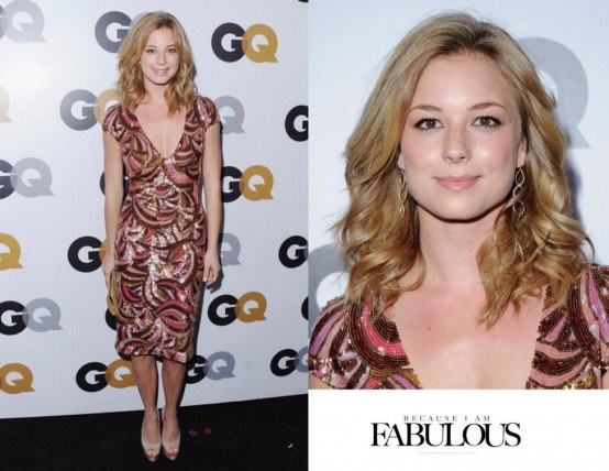 Emily Vancamp Gq Men Of The Year Party Wearing Reem Acra Dress