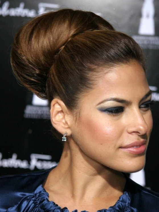 Eva Mendes Hairstyle Top Knot Hair