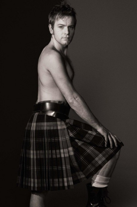 Ewan Mcgregor In Belted Pleated Check Skirt All People Photo