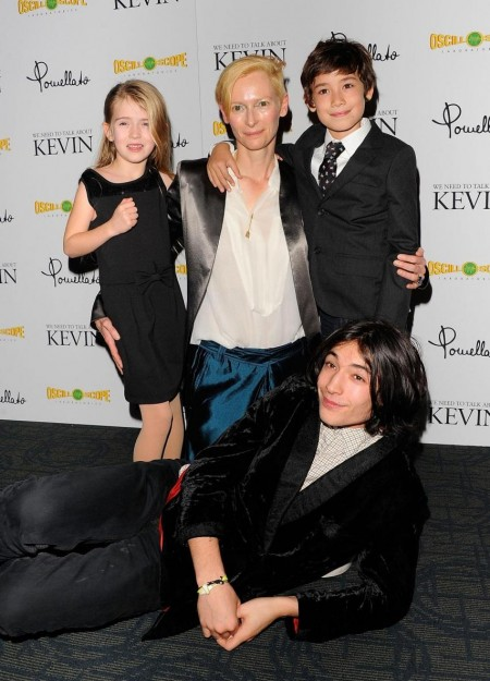 Tilda Swinton Ezra Miller Ashley Gerasimovich And Jasper Newell At Event Of We Need To Talk About Kevin