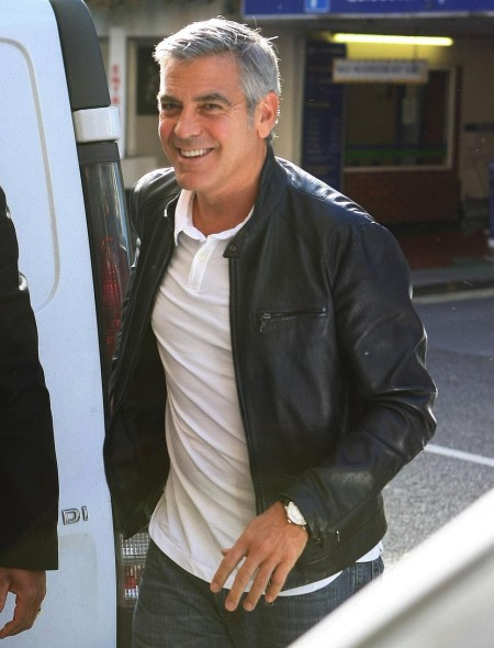 George Clooney Black Leather J  Suit