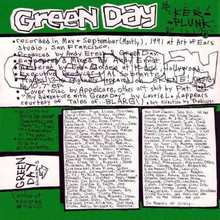 Green Day Kerplunk Interior Frontal Album