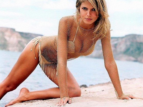 Young Heidi Klum On Beach Young