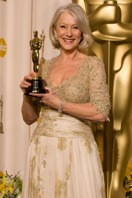 Helen Mirren With Oscar Queen