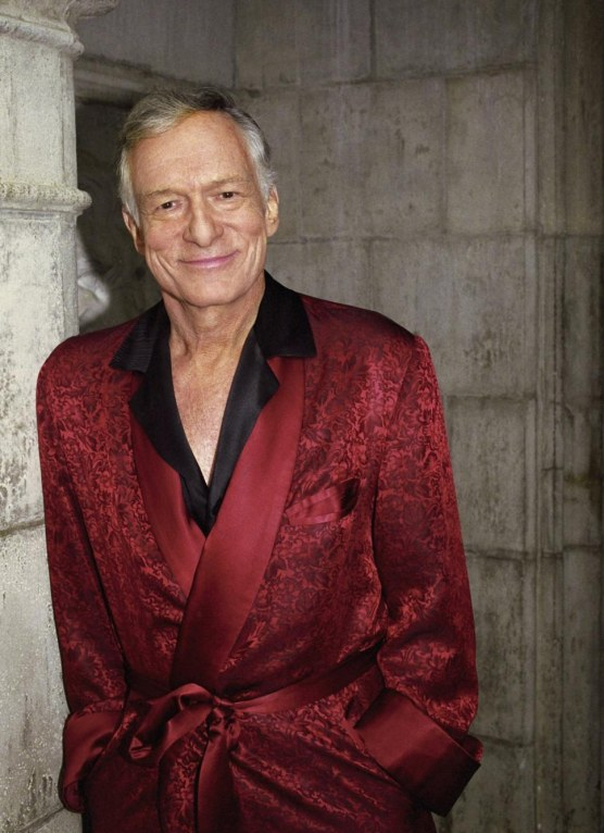 Hef With Red Robe Outside Robe