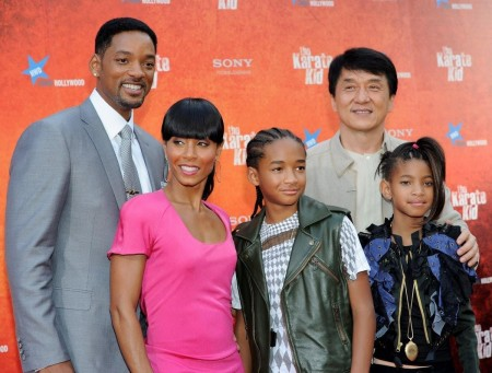 Will Smith Jada Pinkett Smith Jaden Smith Jackie Chan And Willow Smith Attend The Karate Kid Premiere In Madrid And Jackie Chan