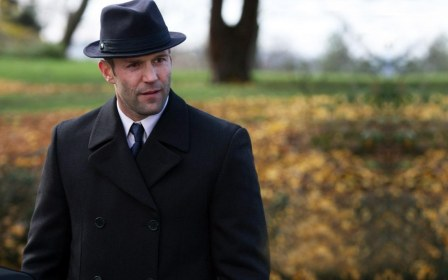 Jason Statham In Black Suit With Cap Suit