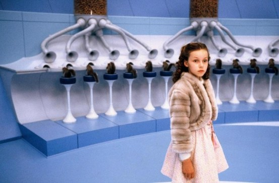 Still Of Johnny Depp Julia Winter And Veruca Salt In Charlie And The Chocolate Factory