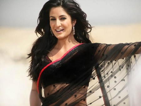 Katrina Kaif Wallpapers In Black Saree