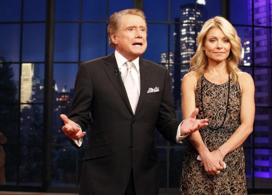 Television Host Regis Philbin Says Goodbye With Co Host Kelly Ripa During His Final Show Of On Live With Regis And Kelly In New York November After Nearly Three Decades Hosting The Sh Tv