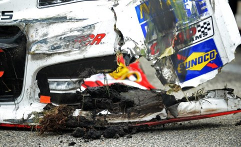 Damage On Budweiser Chevrolet Driven By Kevin Harvick Photo Wallpaper