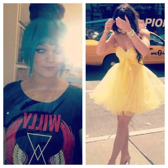 Kylie Jenner Green Hair Yellow Dress