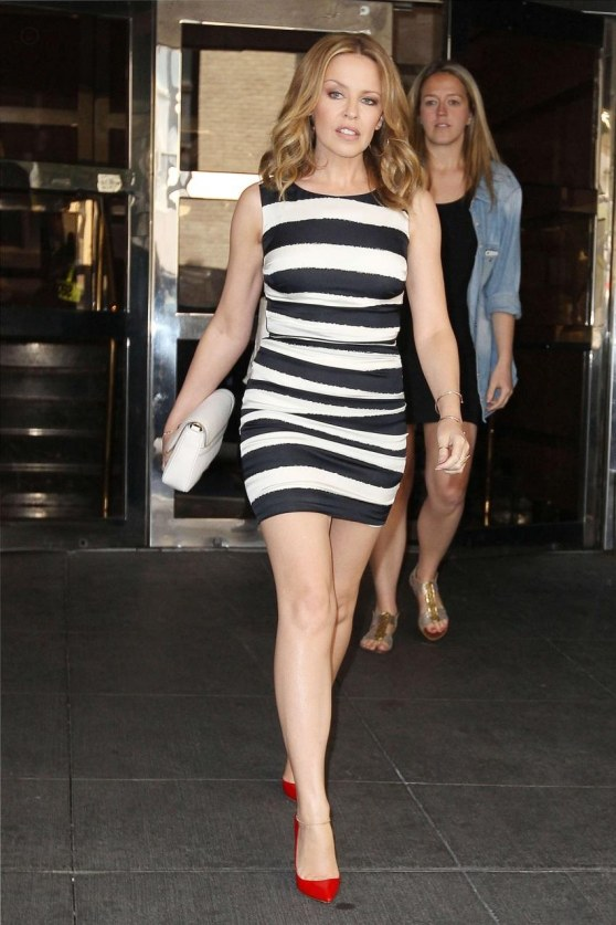 Kylie Minogue In Striped Mini Dress Out In New York Dress