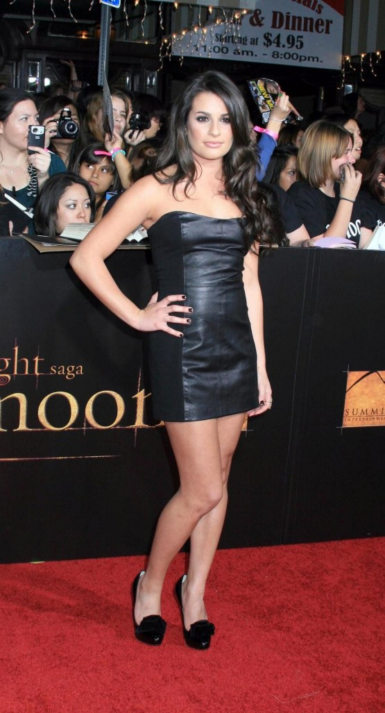 Lea Michele Twilight Saga New Moon Black Leather Dress Lea Michele Lo Pregnant