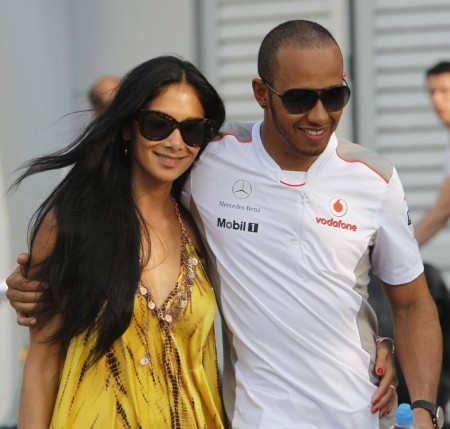 Mclaren Formula One Driver Hamilton Walks With His Girlfriend Nicole Girlfriend