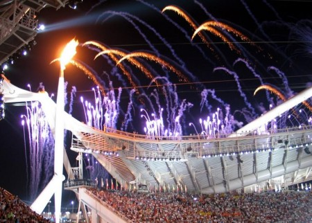 Olympic Flame At Opening Ceremony Rings