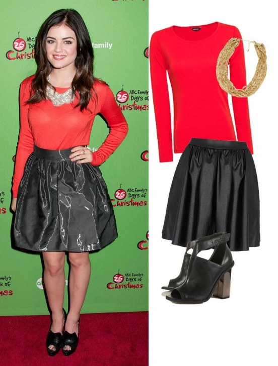 Lucy Hale Black Skirt Red Lo Fashion
