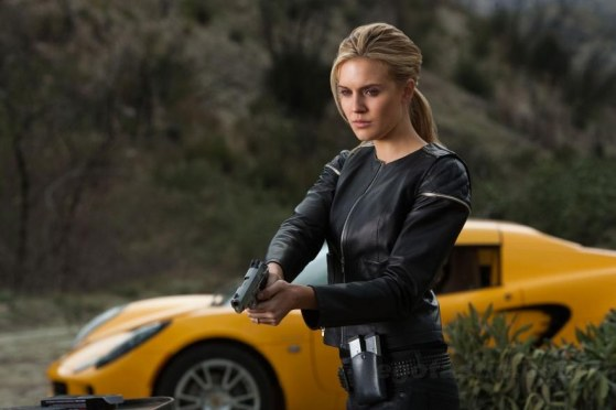 Maggie Grace Faster Black Leather Gun In Leather