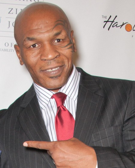 Mike Tyson Gray Pinstriped Sui