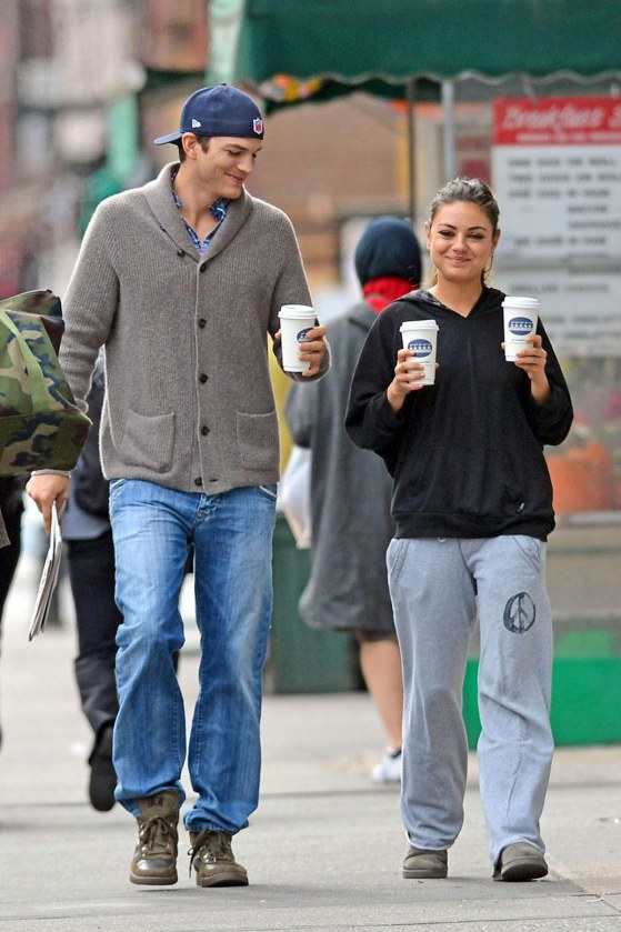 Mila Kunis And Ashton Kutcher Out And About In New York Beach