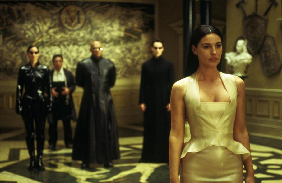 Still Of Keanu Reeves Laurence Fishburne Monica Bellucci Carrie Anne Moss And Randall Duk Kim In The Matrix Reloaded Matrix