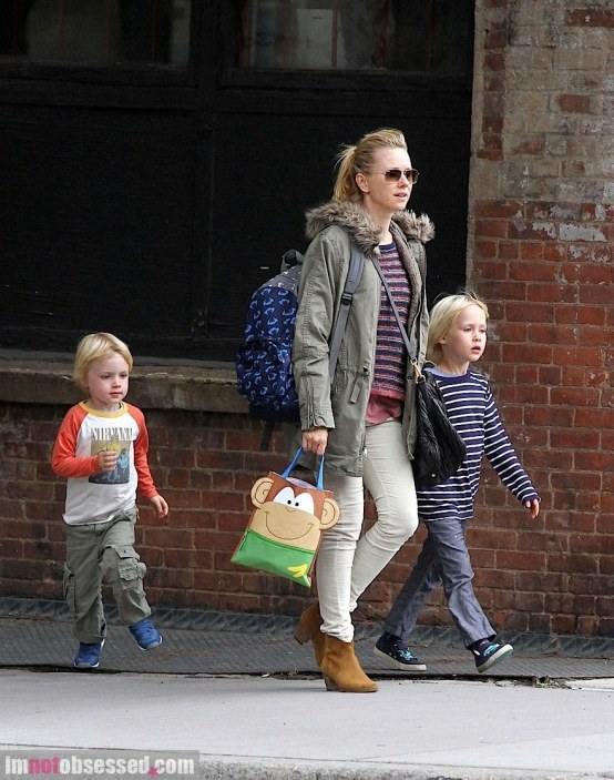 Naomi Watts Hails Cab With Her Boys