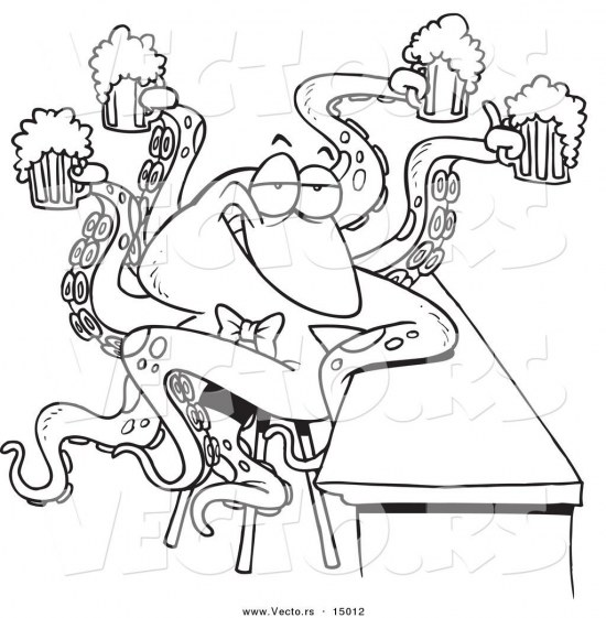 Vector Of Cartoon Octopus Bartender Serving Beer Coloring Page Outline By Ron Leishman Cartoon