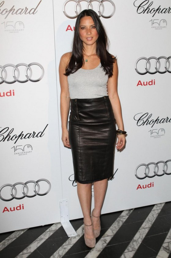 Olivia Munn Gray Top Black Leather Skirt Emmy Week Kick Off Party La Oliviamunn Audi Chopard Emmy Week Kick Off Party At Ciccones La Leather
