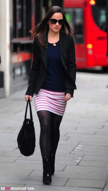 Pippa Middleton Shows Stripes On Working Girl Grind