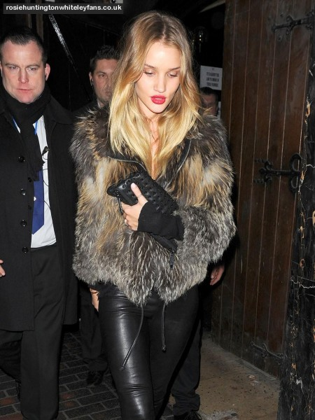 Rosie Huntington Whiteley Fur Jacket Clutch