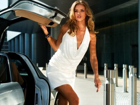 Rosie Huntington With Her Car Wallpaper