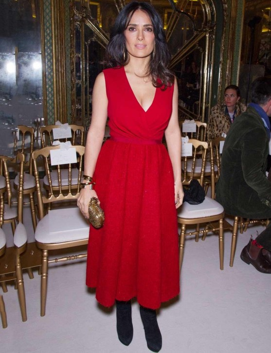 Salma Hayek Arrives For The Giambattista Valli Spring Summer Fashion Show At The Gilded Italian Embassy In Paris Fashion