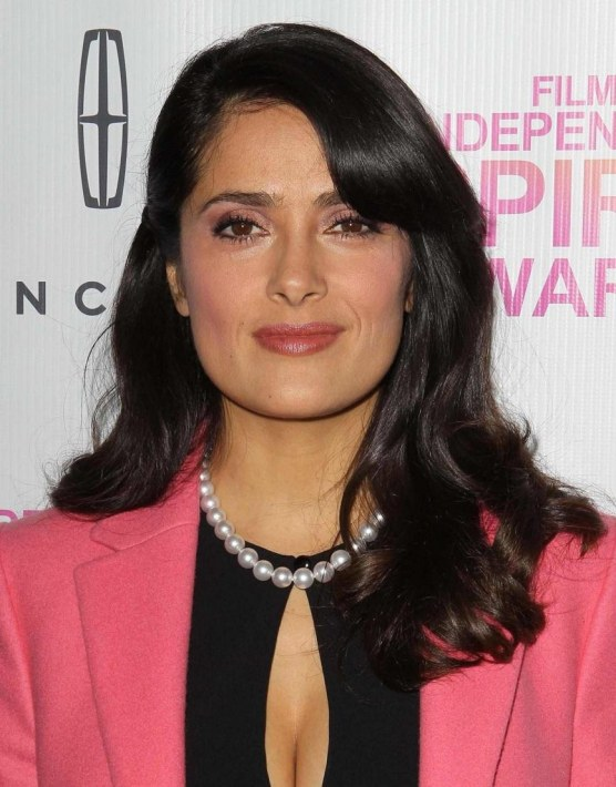 Salma Hayek Black Dress Pink Coat Pearls Film Independent Awards Nominees Brunch La January Young