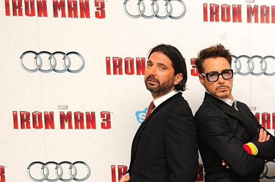 Left To Right Drew Pearce Robert Downey Jr Don Cheadle Rebecca Hall Shane Black And